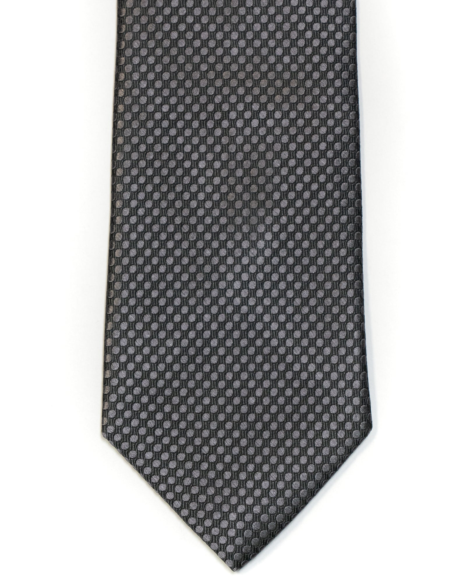 Silk Tie In Slate Grey Circle Jacquard Design Solid - Rainwater's Men's Clothing and Tuxedo Rental