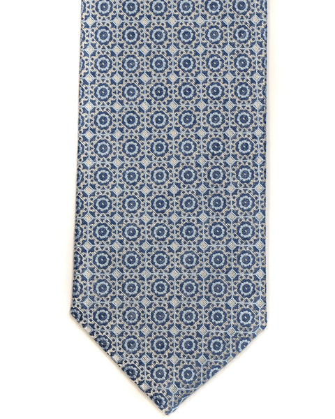 Silk Tie In Blue With Champagne Foulard Design - Rainwater's Men's Clothing and Tuxedo Rental
