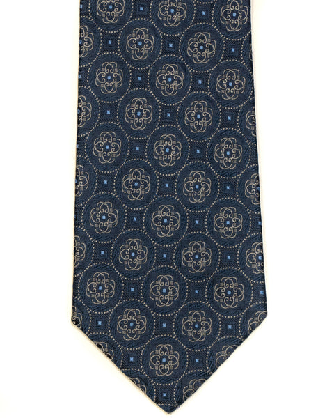 Silk Tie In Navy With Blue Medallion Circle Foulard Design - Rainwater's Men's Clothing and Tuxedo Rental
