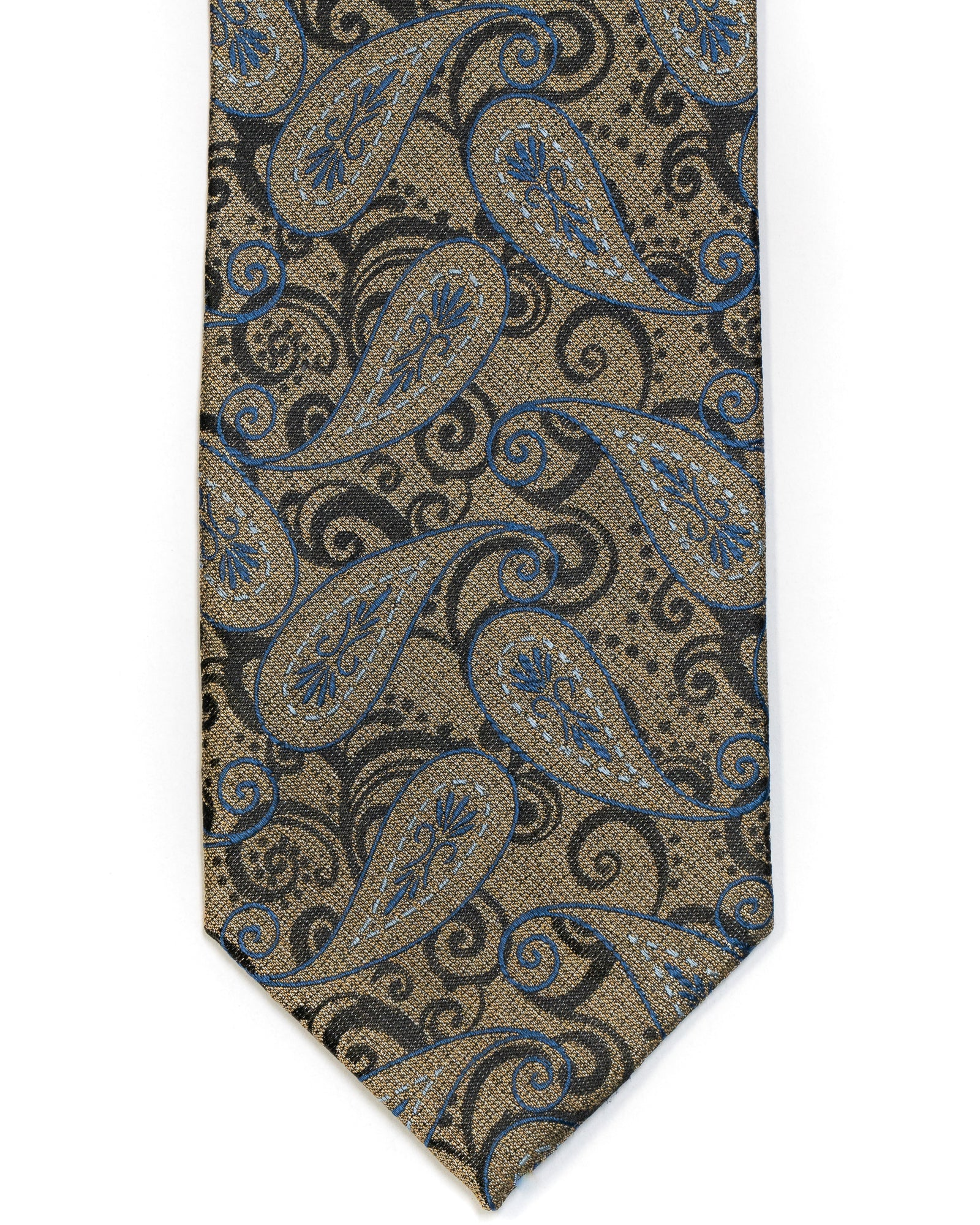 Silk Tie In Gold With Black Paisley Design - Rainwater's Men's Clothing and Tuxedo Rental
