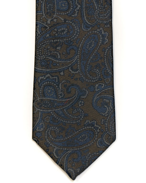 Silk Tie In Brown With Blue Paisley Design - Rainwater's