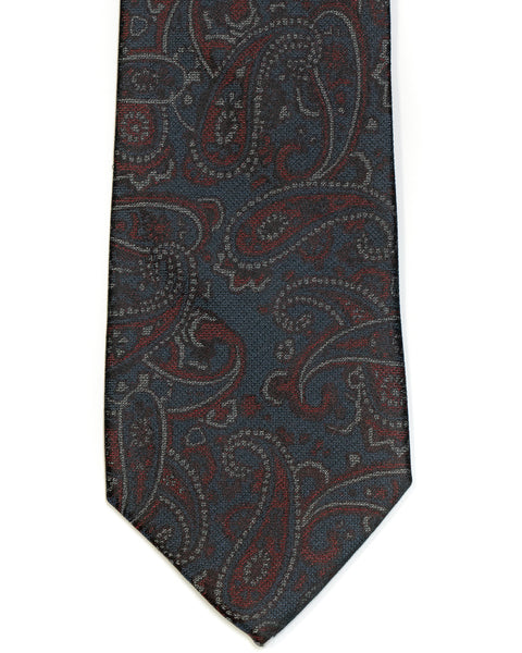 Silk Tie In Dark Grey With Burgundy Paisley Design - Rainwater's Men's Clothing and Tuxedo Rental