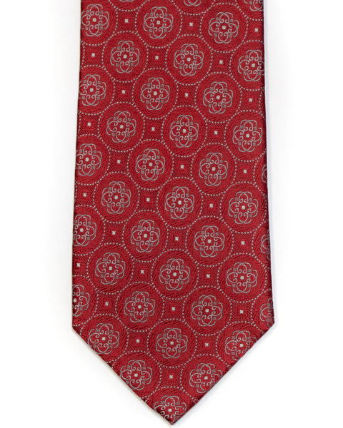 Silk Tie In Deep Red With Blue Medallion Circle Foulard Design - Rainwater's Men's Clothing and Tuxedo Rental