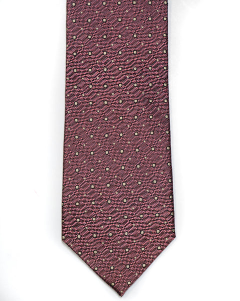 Silk Tie In Rose With Tan Foulard Design - Rainwater's Men's Clothing and Tuxedo Rental