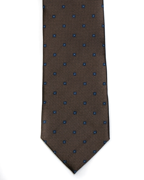 Silk Tie In Dark Brown With Navy Foulard Design - Rainwater's Men's Clothing and Tuxedo Rental