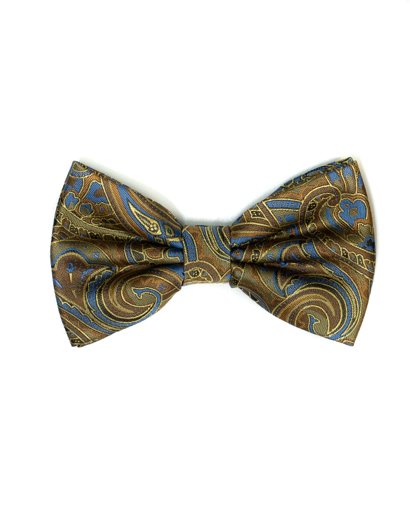 Bow Tie Paisley In Gold & Blue - Rainwater's Men's Clothing and Tuxedo Rental