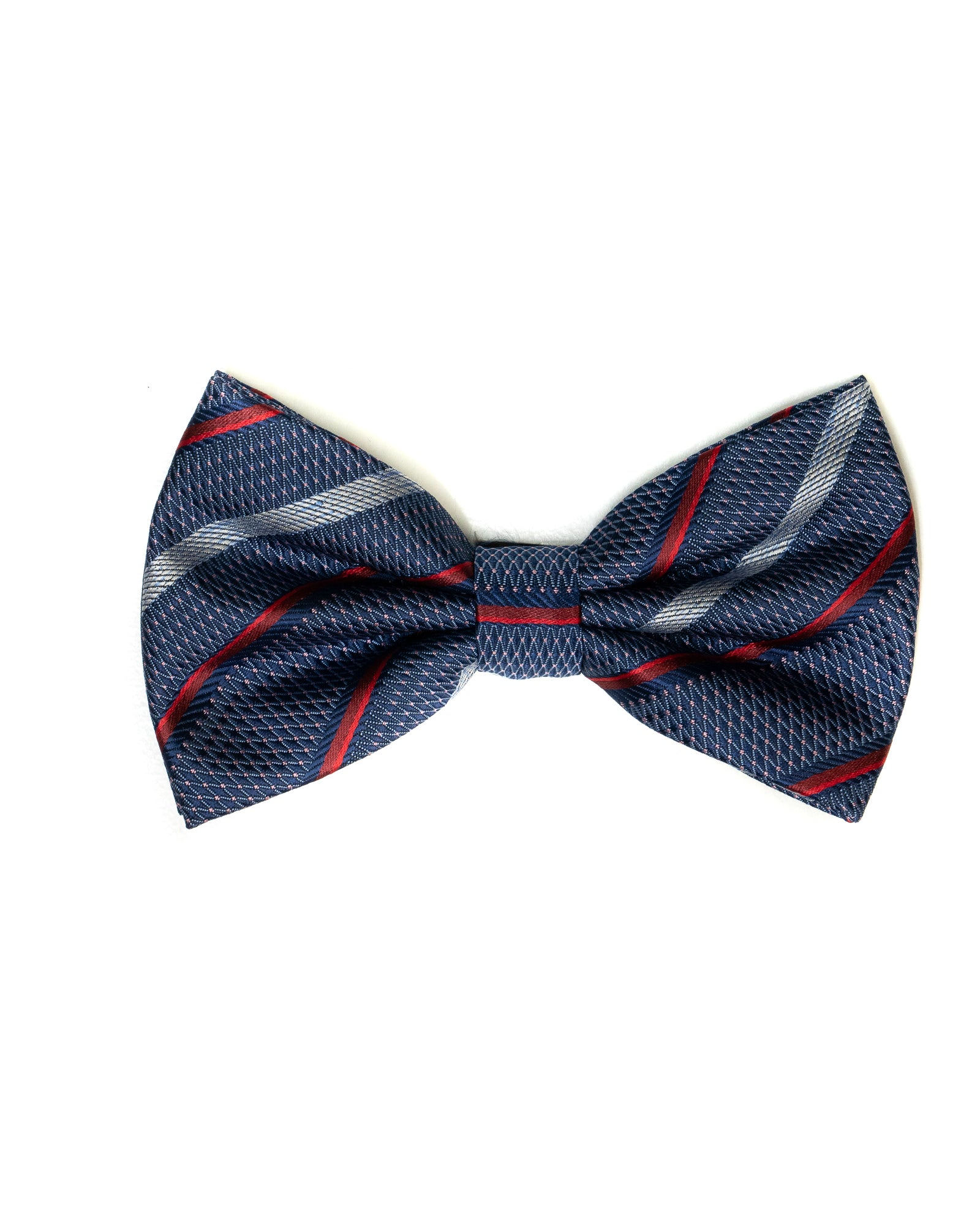 Bow Tie In Stripe Pattern Blue & Red - Rainwater's Men's Clothing and Tuxedo Rental