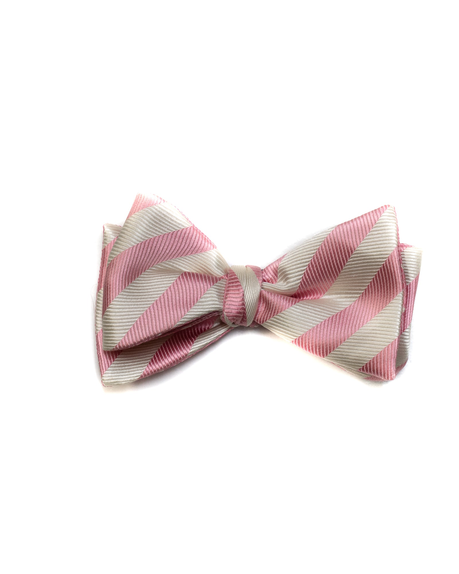 Self Tie All Silk Bow Tie In Pink Dot & Bar Stripe - Rainwater's Men's Clothing and Tuxedo Rental
