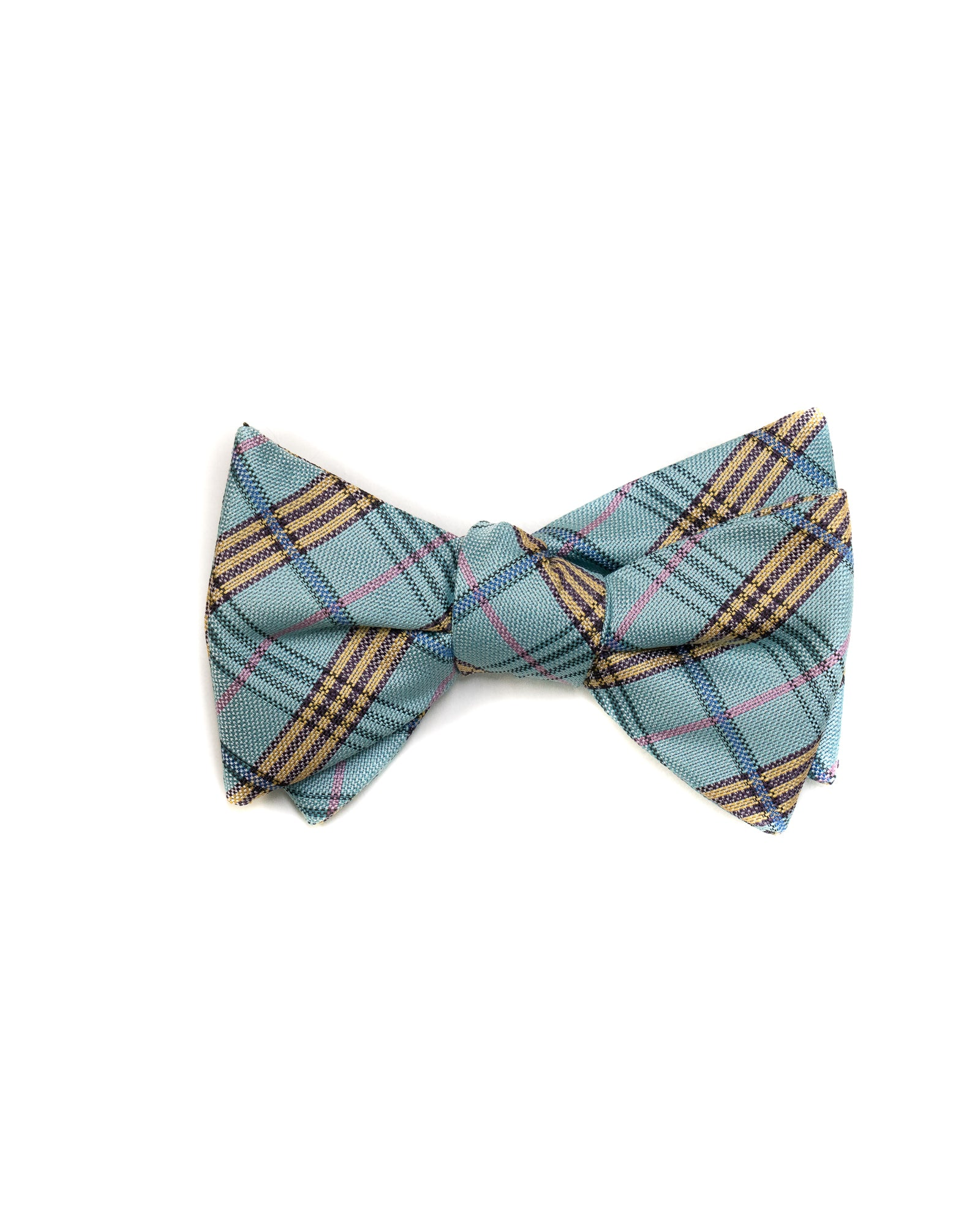 Self Tie Bow Tie In Mint Green Plaid - Rainwater's Men's Clothing and Tuxedo Rental