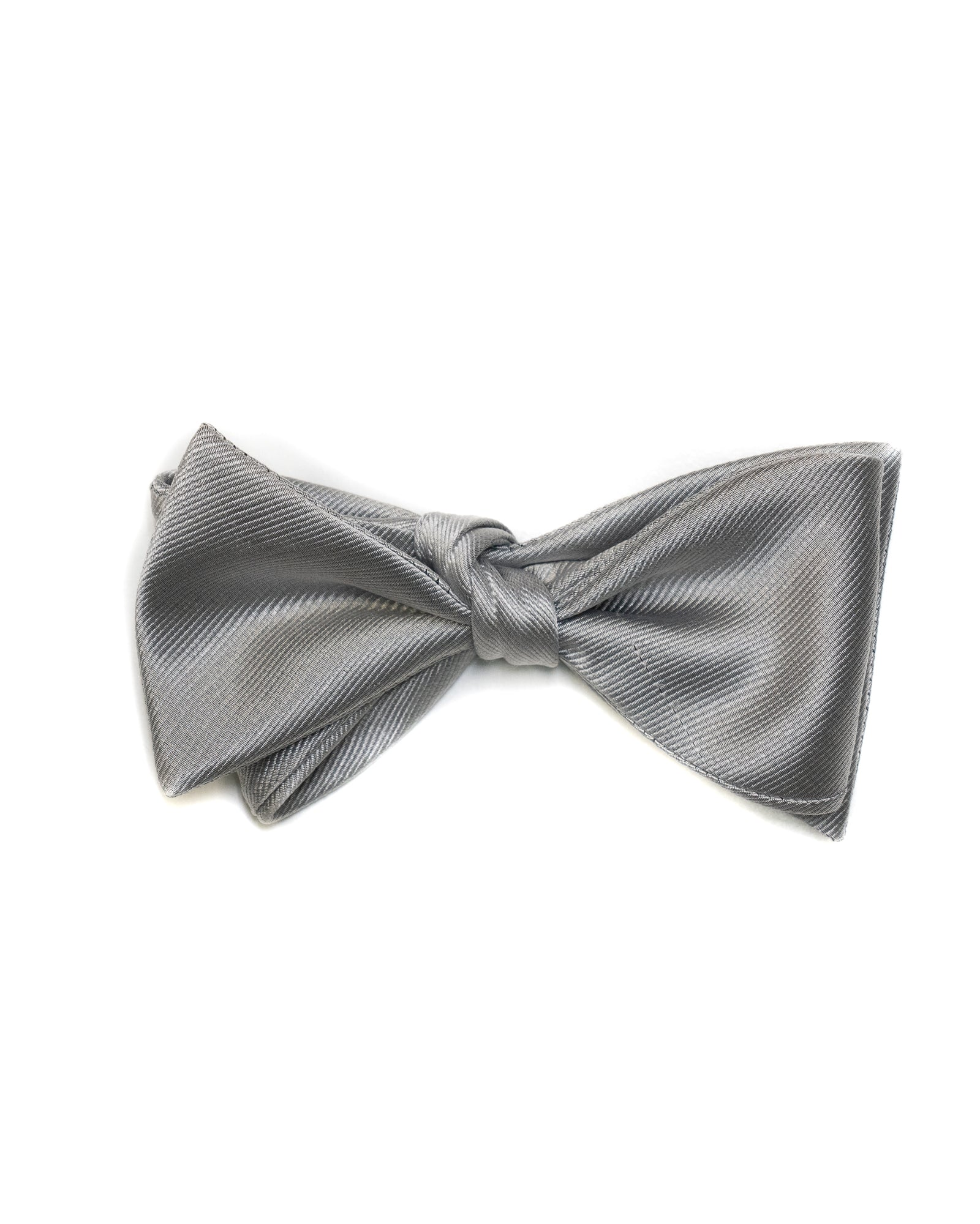 Self Tie All Silk Bow Tie In Silver Ribbed Solid - Rainwater's Men's Clothing and Tuxedo Rental
