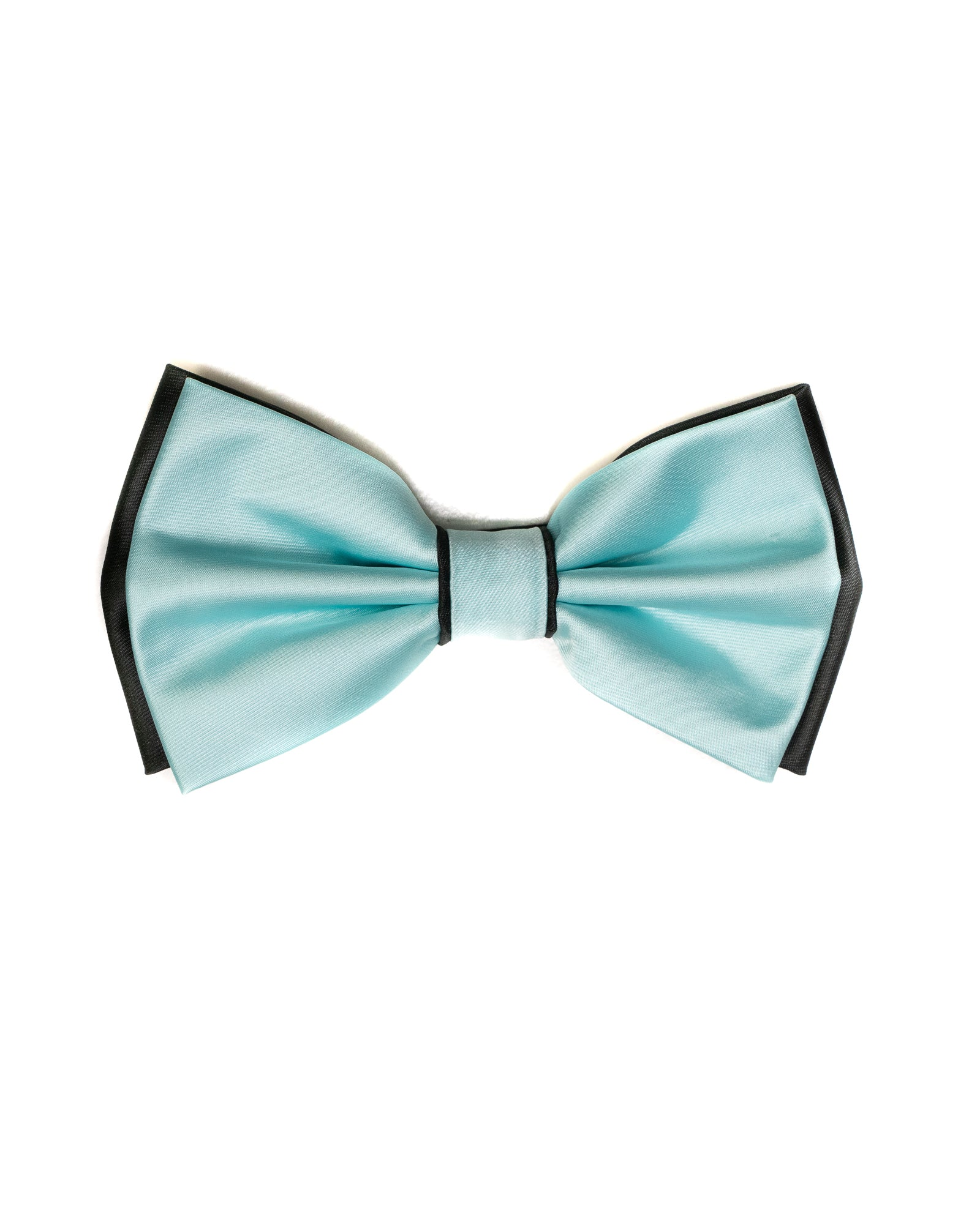 Bow Tie In Two Tone With Two Pocket Squares In Mint & Black - Rainwater's