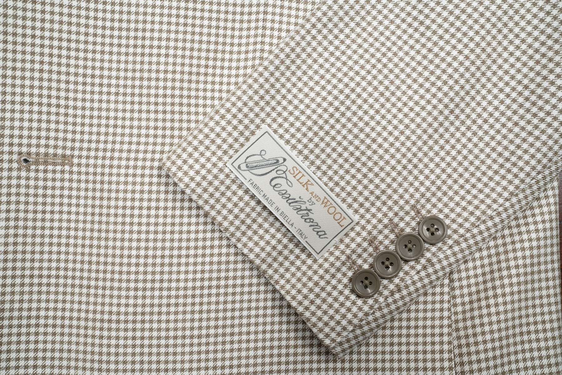 Tessilstrona Silk & Wool Check Sport Coat in Ivory & Tan - Rainwater's Men's Clothing and Tuxedo Rental