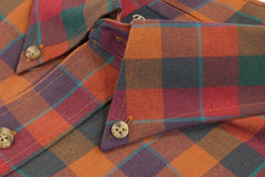 Deep Red Blue and Green Plaid Button Down in Cotton & Wool by Rainwater's - Rainwater's Men's Clothing and Tuxedo Rental