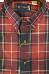 Deep Red and Navy Plaid Button Down in Cotton & Wool by Rainwater's - Rainwater's Men's Clothing and Tuxedo Rental