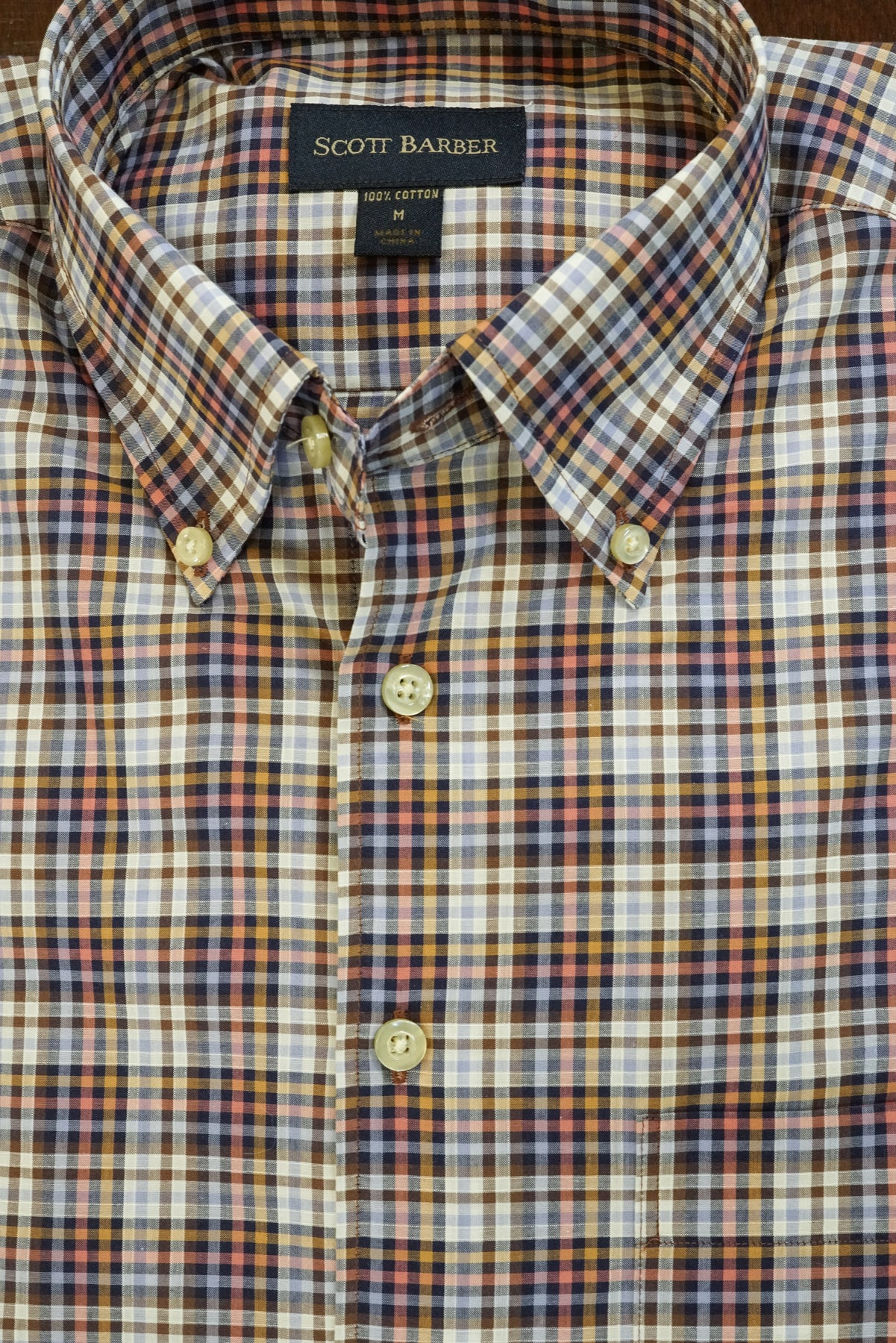 Dusty Blue, Navy and Khaki Plaid Button Down Shirt by Scott Barber - Rainwater's Men's Clothing and Tuxedo Rental