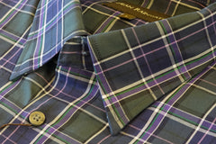 Green, Navy with Purple Plaid Cotton Hidden Button-down by Dean Rainwater - Rainwater's Men's Clothing and Tuxedo Rental