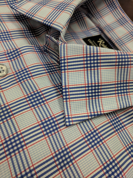 Rainwater's 100% Cotton Red and Blue Plaid Slim Fit Dress Shirt - Rainwater's Men's Clothing and Tuxedo Rental