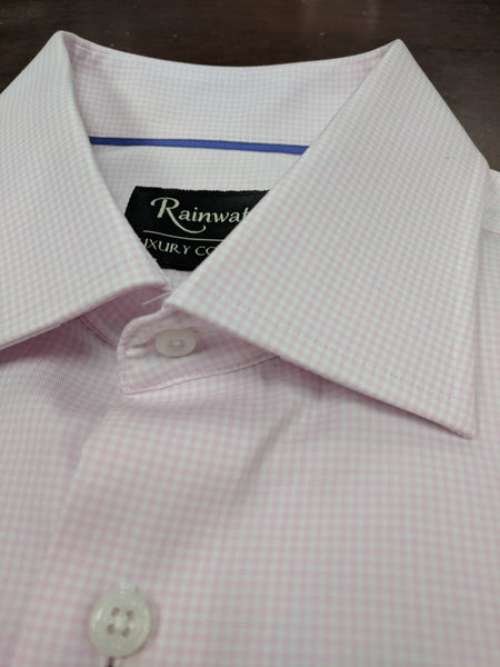 Rainwater's 100's Two Ply 100% Cotton Pink Small Gingham Dress Shirt - Rainwater's Men's Clothing and Tuxedo Rental