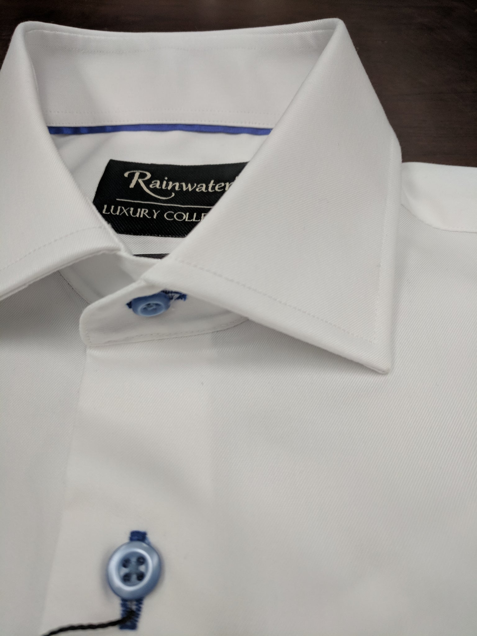Rainwater's White Dress Shirt with Blue Buttons - Rainwater's Men's Clothing and Tuxedo Rental
