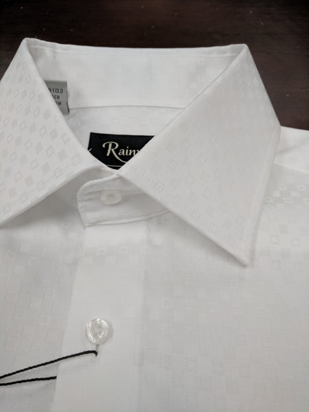 Rainwater's Button Cuff White Tonal Squares Dress Shirt - Rainwater's Men's Clothing and Tuxedo Rental