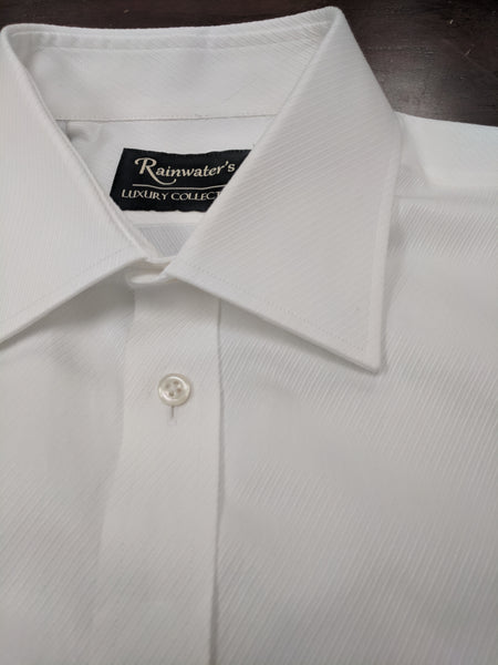 Rainwater's Luxury White Twill French Cuff Dress Shirt - Rainwater's Men's Clothing and Tuxedo Rental