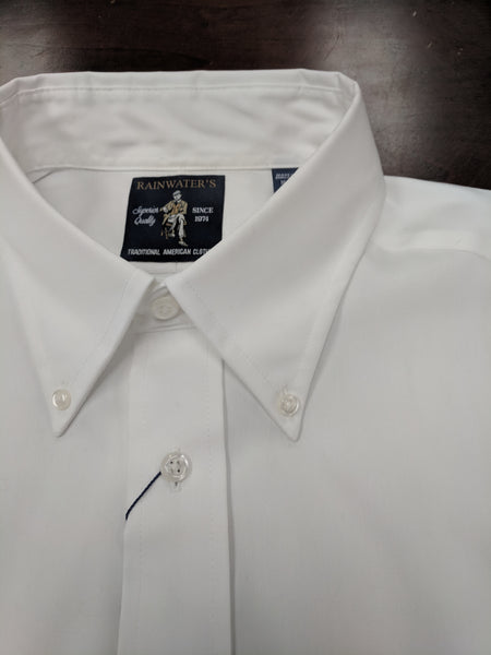 Rainwater's White Pinpoint Button-Down Dress Shirt - Rainwater's Men's Clothing and Tuxedo Rental