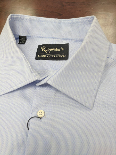 Rainwater's Light Blue Textured 100's 2 Ply Cotton Spread Collar Dress Shirt - Rainwater's Men's Clothing and Tuxedo Rental