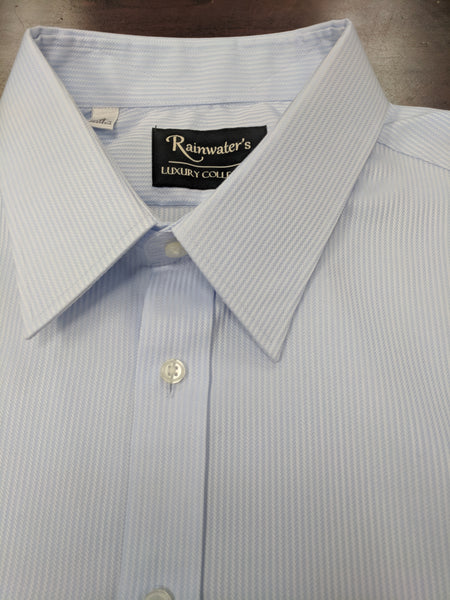 Rainwater's Blue Herringbone Button Cuff Dress Shirt - Rainwater's Men's Clothing and Tuxedo Rental