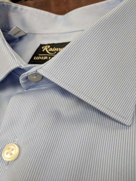 Rainwater's Non-Iron 100% Cotton Blue Twill Dress Shirt - Rainwater's Men's Clothing and Tuxedo Rental