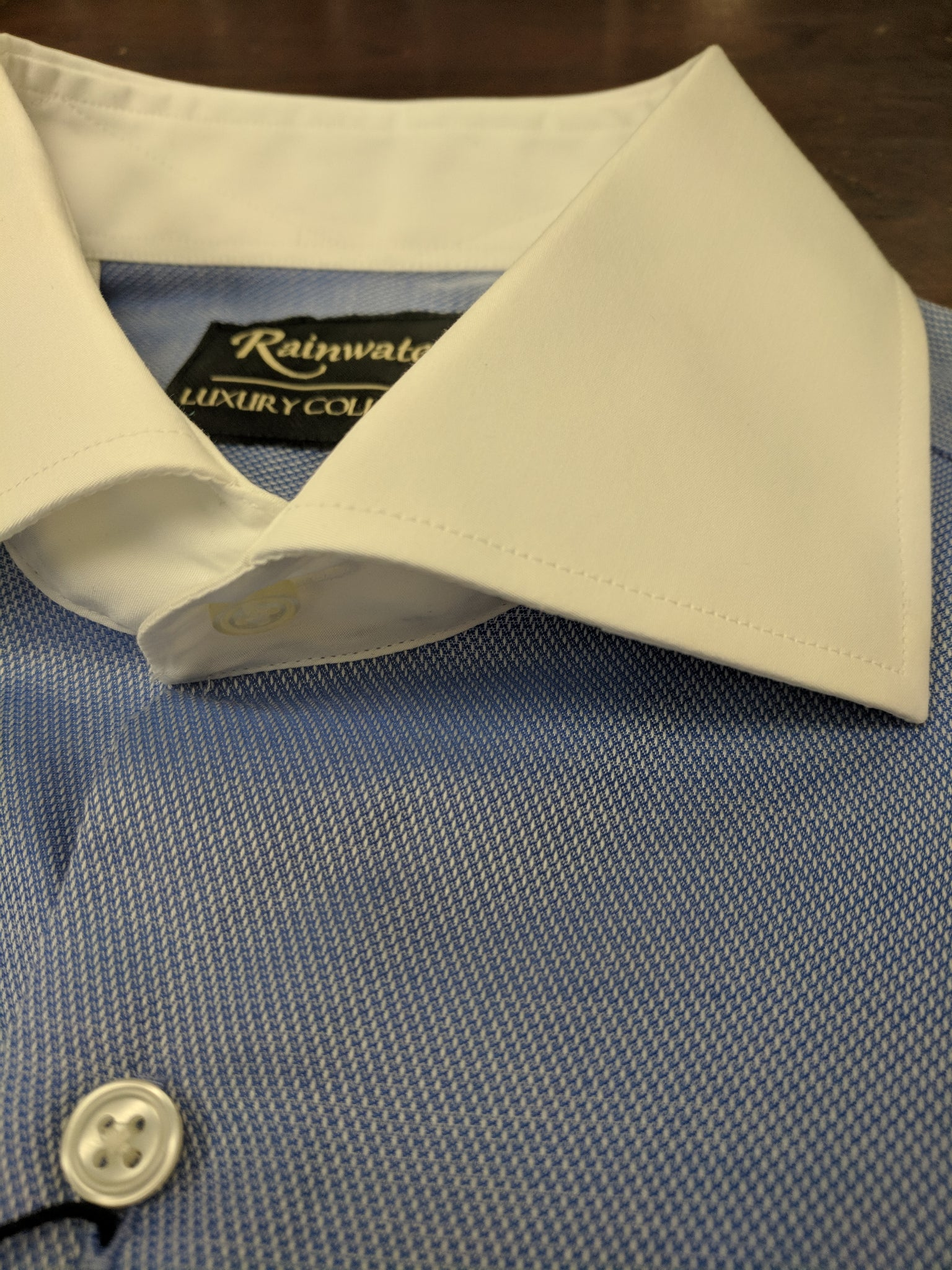 Rainwater's 100% Cotton Blue Royal Oxford Dress Shirt with Contrast Collar - Rainwater's Men's Clothing and Tuxedo Rental