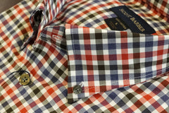 Ivory Navy and Red Check Twill Button Down Sport Shirt by Scott Barber - Rainwater's Men's Clothing and Tuxedo Rental