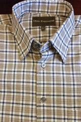 Khaki and Navy Twill Hidden Button-down Collar by Dean Rainwater - Rainwater's Men's Clothing and Tuxedo Rental
