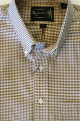 Khaki & White Gingham Oxford Cloth Button Down Sport Shirt by Rainwater's - Rainwater's Men's Clothing and Tuxedo Rental