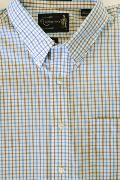 Khaki and Teal Check Wrinkle Free Button Down Sport Shirt by Rainwater's - Rainwater's Men's Clothing and Tuxedo Rental