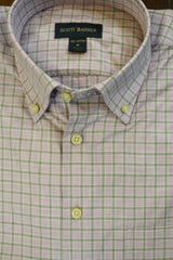 Lavender with Grey Check Button Down Shirt by Scott Barber - Rainwater's Men's Clothing and Tuxedo Rental