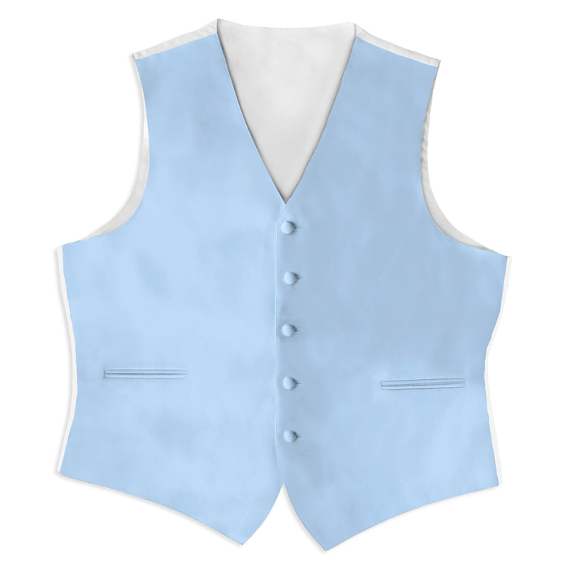 Light Blue Satin Rental Vest - Rainwater's Men's Clothing and Tuxedo Rental