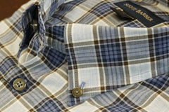 Light Blue and Medium Blue Plaid Button Down Sport Shirt by Scott Barber - Rainwater's Men's Clothing and Tuxedo Rental