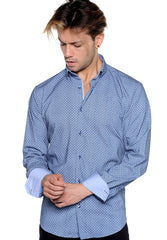 Light Blue Tiny Print Sport Shirt - Rainwater's Men's Clothing and Tuxedo Rental