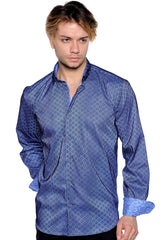French Blue Circle Print Sport Shirt - Rainwater's Men's Clothing and Tuxedo Rental