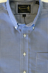 Navy Gingham Check Oxford Cloth Wrinkle Free Sport Shirt by Rainwater's - Rainwater's Men's Clothing and Tuxedo Rental