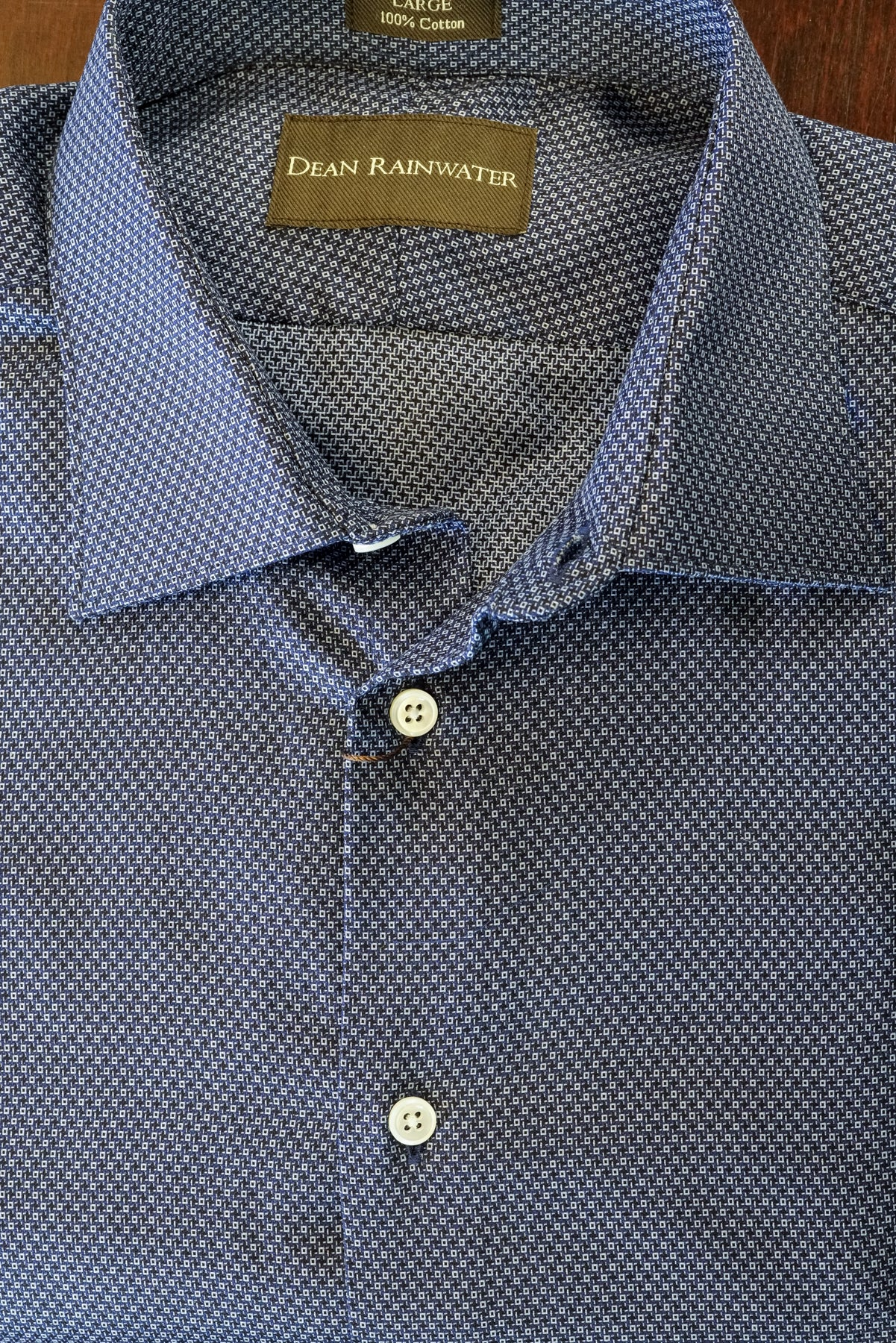 Navy Small Neat Print Cotton Spread Collar by Dean Rainwater - Rainwater's Men's Clothing and Tuxedo Rental