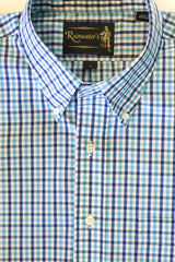 Navy & Teal Plaid Check Wrinkle Free Sport Shirt by Rainwater's - Rainwater's Men's Clothing and Tuxedo Rental