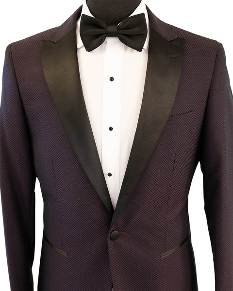 Purple Textured With Black Peak Lapel Dinner Jacket Tuxedo Rental - Rainwater's Men's Clothing and Tuxedo Rental