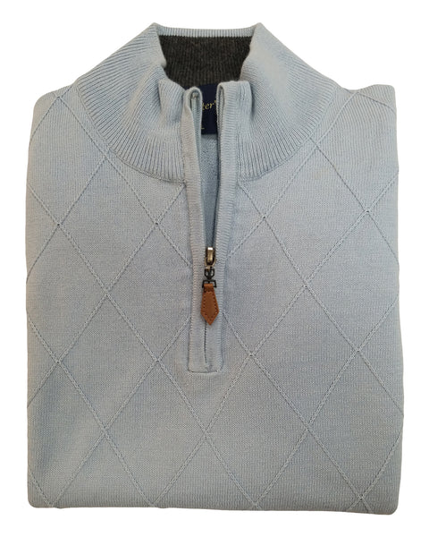 1/4 Zip Mock Sweater Vest in Light Blue Diamond Weave Cotton & Cashmere Blend