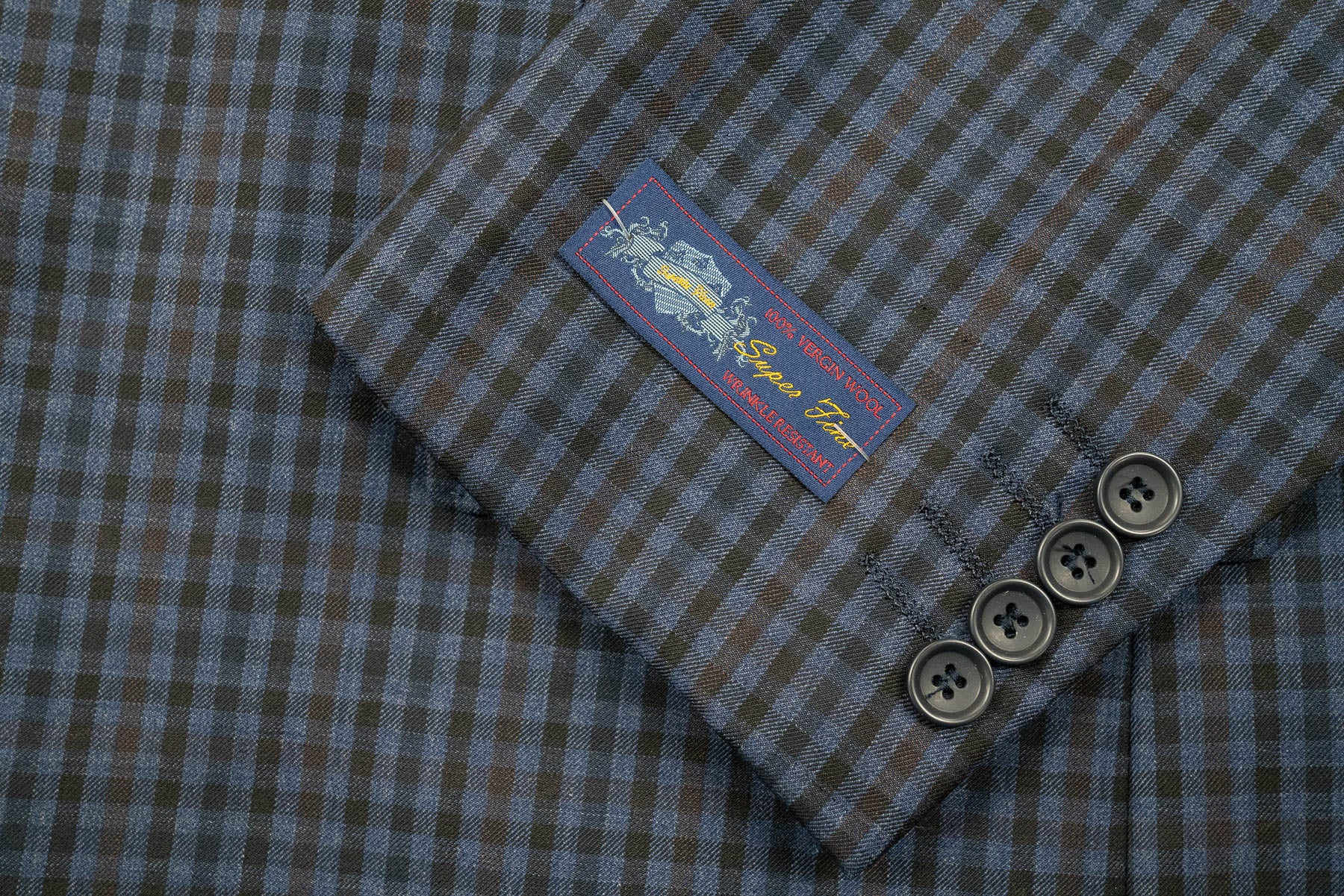 Rainwater's Blue With Black Check Super 140's Wool Sport Coat - Rainwater's