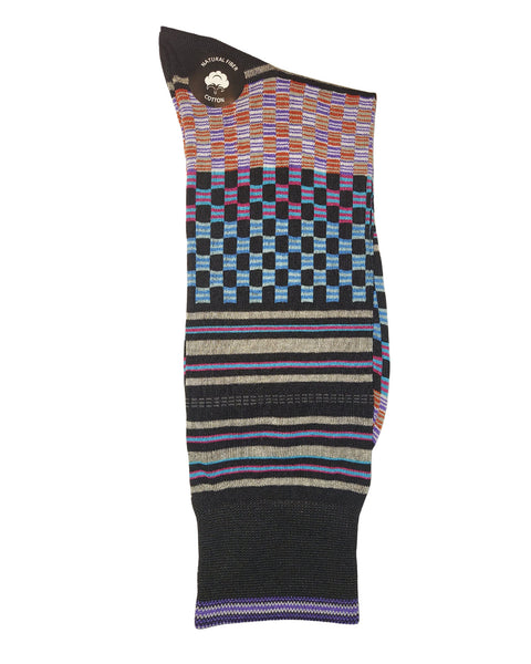 Rainwater's Mercerized Cotton Fun Checkerboard Dress Sock - Rainwater's