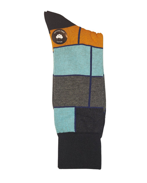 Rainwater's Mercerized Cotton Colorblock Dress Sock - Rainwater's