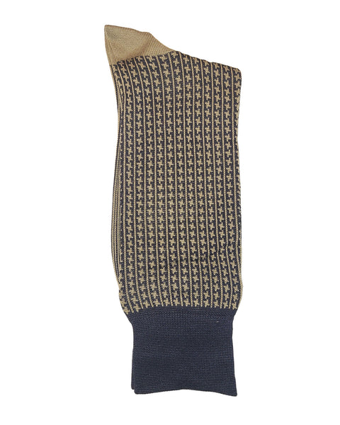 Rainwater's Mercerized Cotton Houndstooth Vertical Stripe Dress Sock - Rainwater's