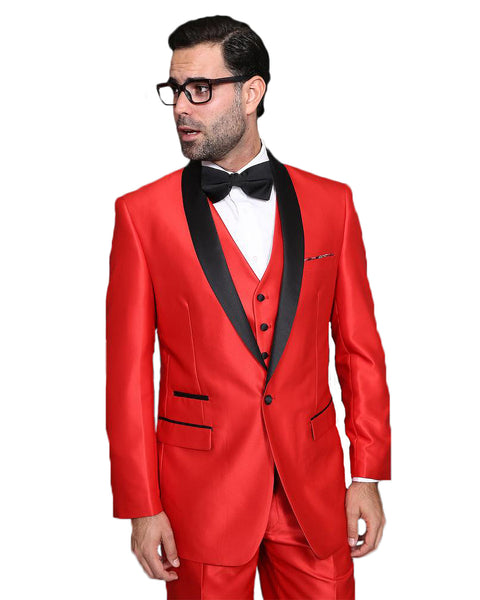 Red With Black Shawl Tuxedo Rental - Rainwater's