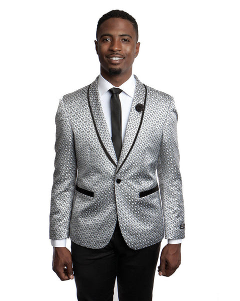 Shawl Lapel Dinner Jacket in Silver with Black Small Paisley Neat Pattern Tuxedo Rental - Rainwater's